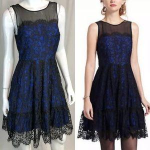 Moulinette Soeurs Floral Lace Silk Flare Dress